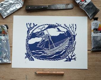 The Long Voyage –A4 linocut print