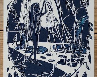 The Cave – A4 linocut print