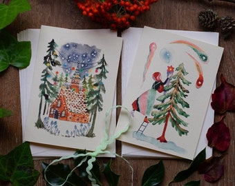 Gingerbread house and Happy Christmas – Handprinted greeting card, pack of 10 including 2 designs.