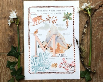 M A4 personalised baby name illustration letter