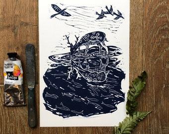 What Lies Beneath? A4 linocut print