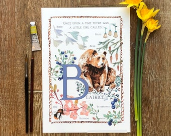 B A4 personalised baby name illustration letter