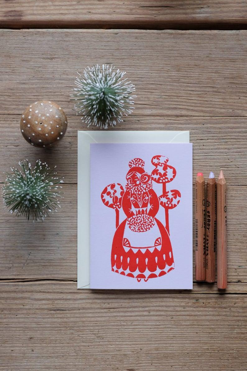 Festive Anouska  Handprinted Christmas card/greeting card. image 0