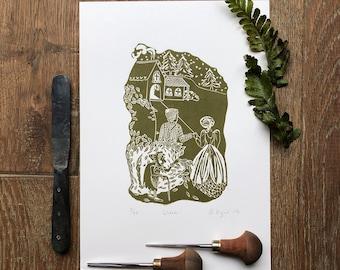 Wicca – A4 linocut print
