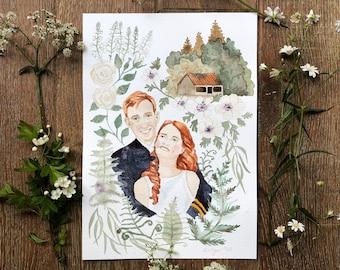 Bespoke A4 wedding portrait - A4 original water colour.