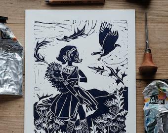 The Autumn Wind – A4 linocut print