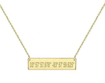 Engravable 1.5 inch 14k Solid Gold Bar Necklace   Gold Bar Necklace Personalized Latitude Longitude Coordinates engravable Mothers day gift