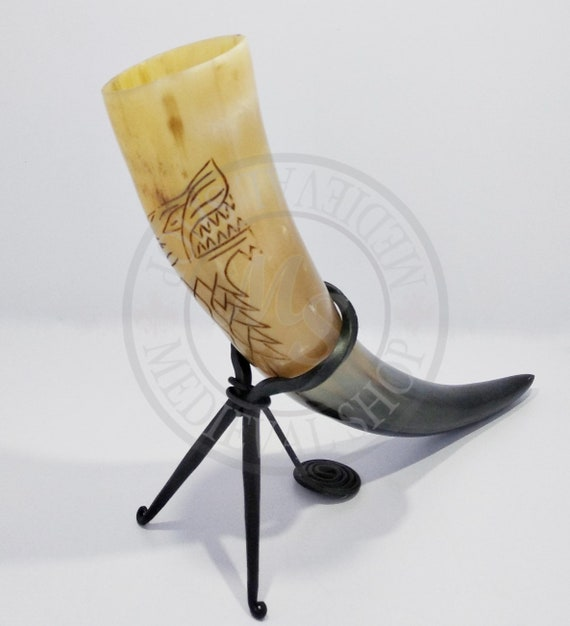 Drinking Horn /& Iron Stand For Re-enactment or LARP Viking Medieval Celtic