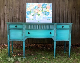 Vintage 1930's Drexel Solid Wood Turquoise Distressed Buffet Sideboard