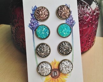 Details about  /Artisan Earrings Druzy Marcasite 925 Sterling Silver Round Studs Post