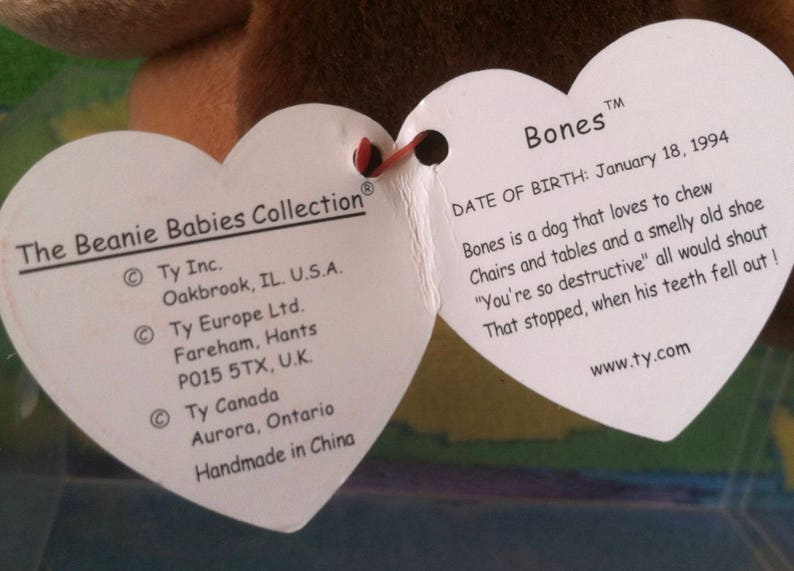Ty Beanie Baby BONES the tan Dog
