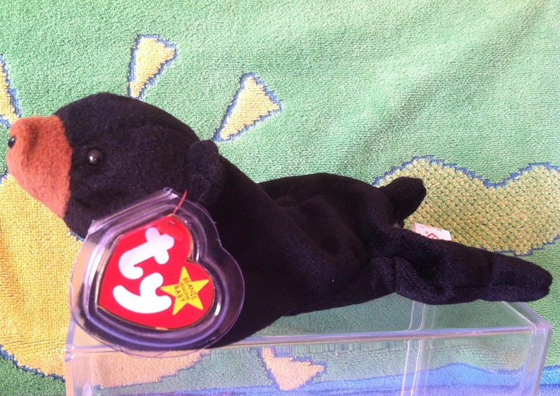 4898187620c Ty Beanie Baby retired Blackie the Bear with errors