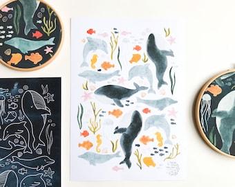 DOWNLOADABLE ARTPRINT   ocean, sea, whales, dolphins, fish, indigo, kids room, nursery