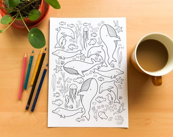 Ocean DOWNLOADABLE colouring page   whales and dolphins   for children