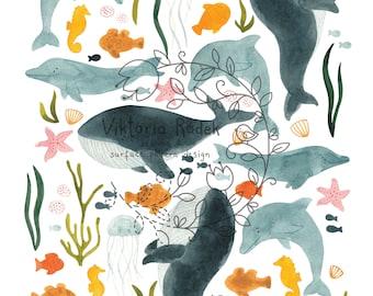 DOWNLOADABLE sealife artprint, ocean, whales, dolphins, fish