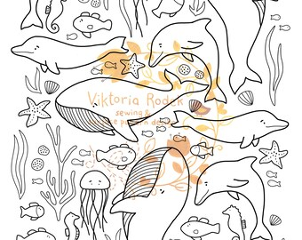 Sealife DOWNLOADABLE colouring page   whales and dolphins