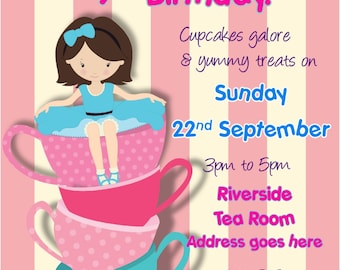 Printed Personalised BirthdayTea Party Invitations x10