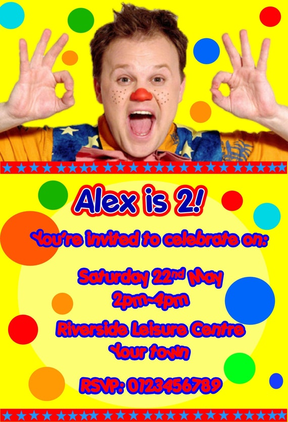 Boys Girls x10 Spotty bag Mr Tumble Personalised Party Invitations