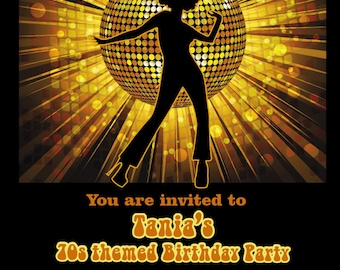 Printed Personalised70s Birthday Party Invitations