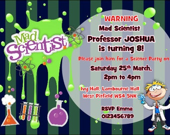 Printed Personalised Mad Science Birthday Party Invitations  X10