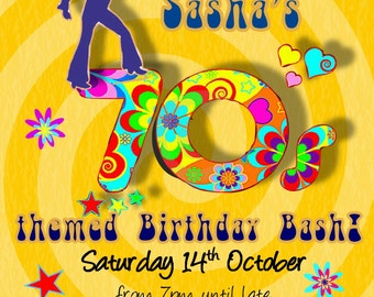 Printed Personalised70s Birthday Party Invitations X10