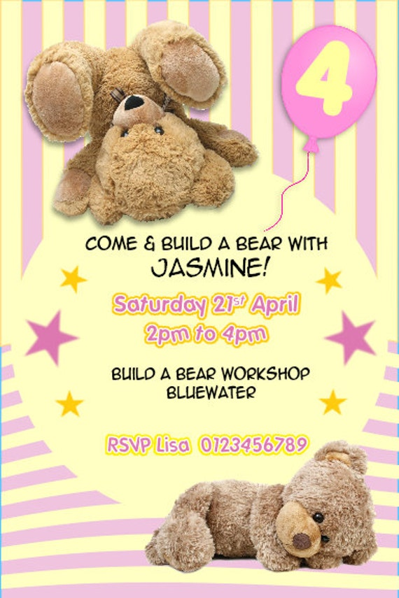 a9419baf045 Printed Personalised Build a Bear Birthday Party Invitations