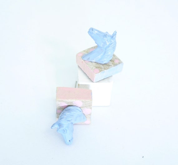 Pastel Pink Dots on Square Timber Bases Powder Blue Horsehead Stud Earrings