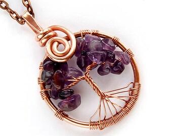Tree o life necklace, tree of life pendant, tree of life, wire tree necklace, tree life necklaces, copper jewlery, copper tree of life, Fami