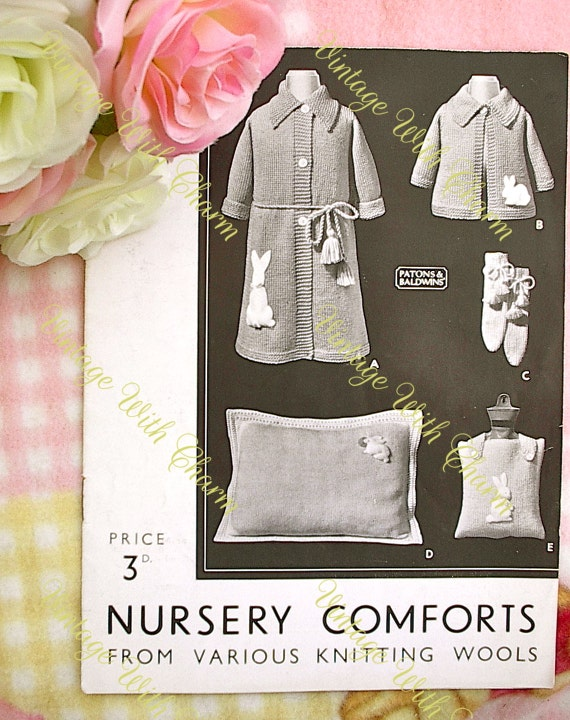 c1316a66d Vintage 1930s Knitting Pattern  Nursery Comforts  With