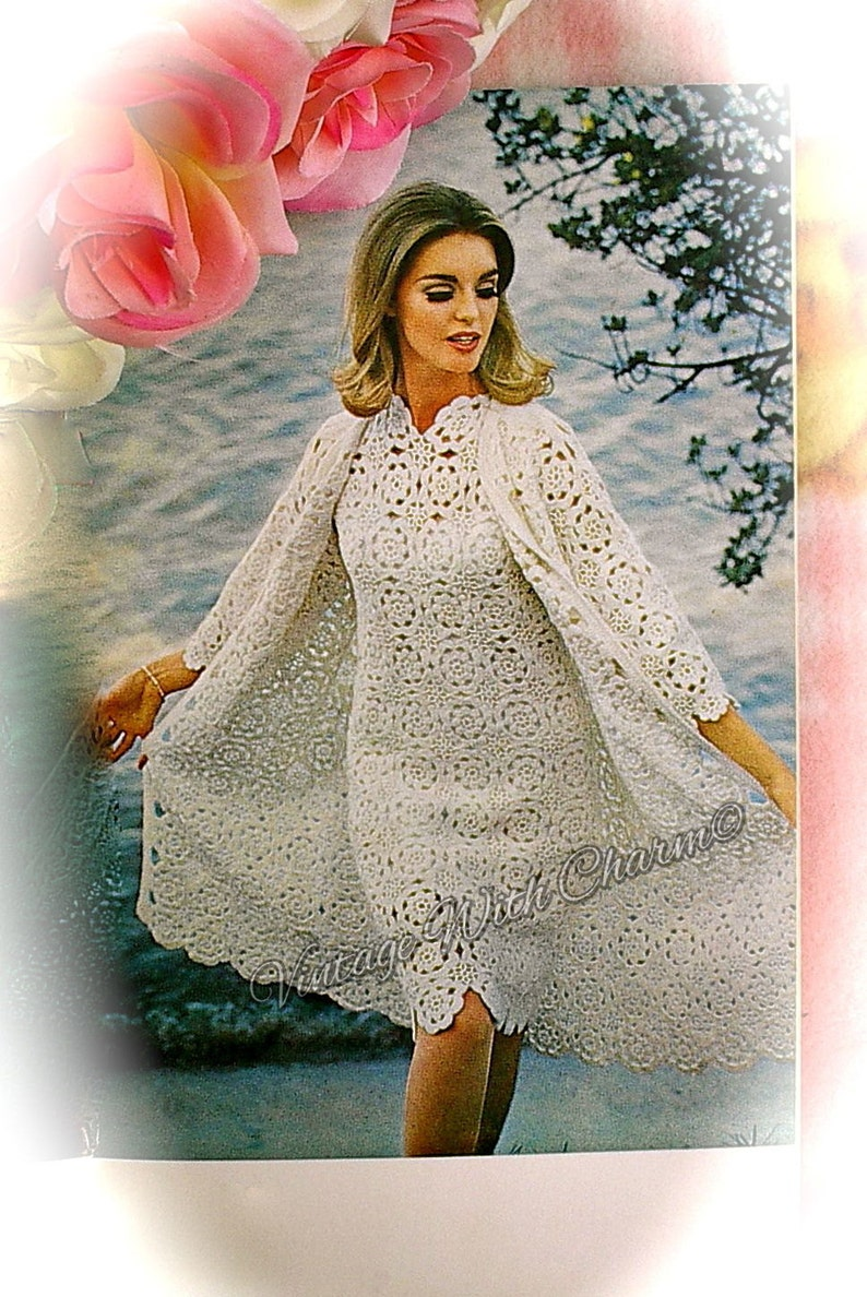 cfc16a27343c6 Vintage 70s Crochet Pattern Copy For A Wedding Dress Occasion