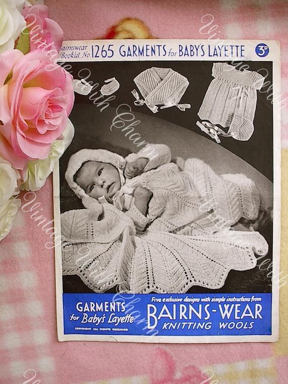 Vintage Knitting Pattern 1940s Babys Layette Stunning Etsy