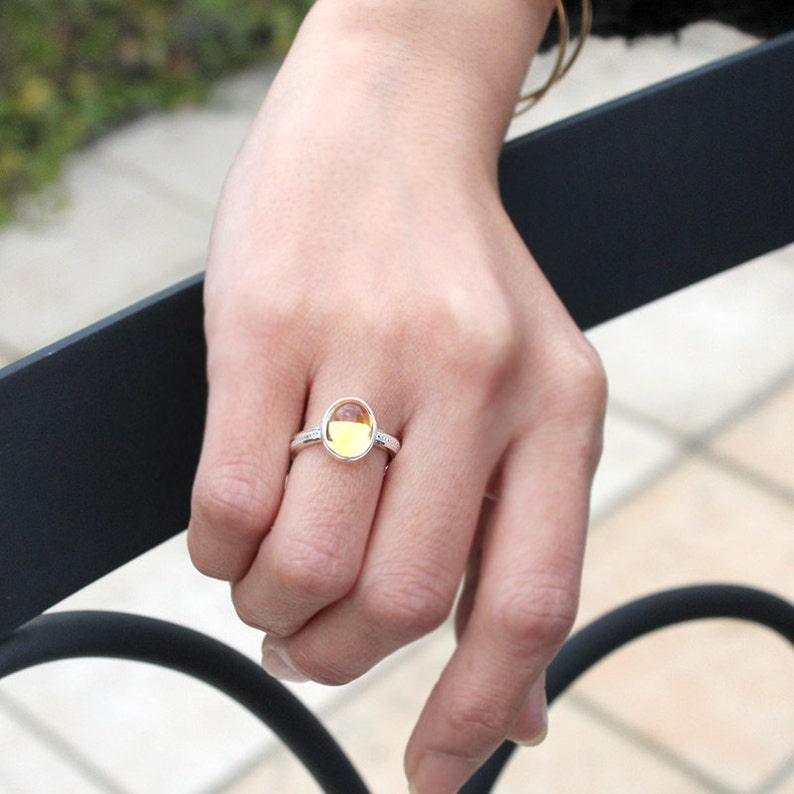 Natural citrine ring Gem Sto NE Citrine ring Jewelry Yellow color Sterling Silver citrine ring November Birthstone ring Gift Jewelry