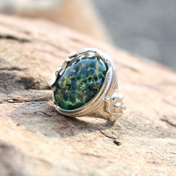 Natural Vintage Glass ring Mexican Fire Opal ring Green color Ring Dragon/'s Breath Opal ring Handmade Gift Jewelry Sterling Silver ring
