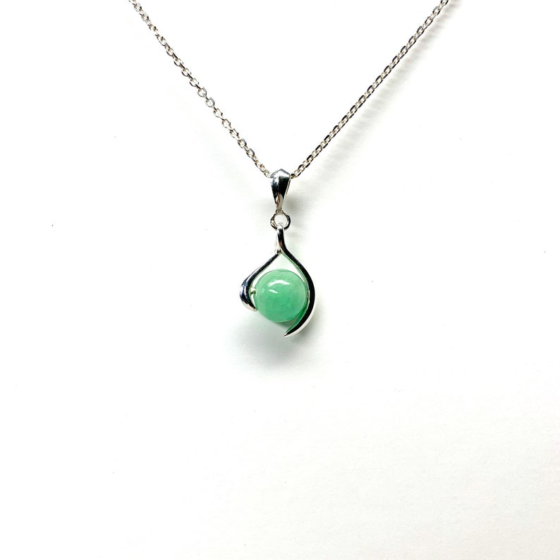 Gift Jewelry Healing Pendant Gold made in Japan May Birthstone Green Charis Jewelry SV925 Jade Gemstone Sterling Silver 8mm necklace K18