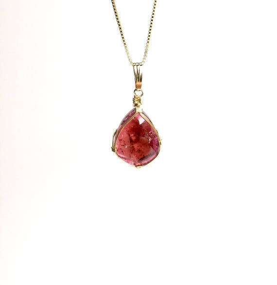 Pink Tourmaline Pendant Necklace by Stones Desire