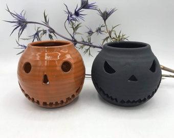 Tea Light Holder / Halloween Head / Handmade Pottery / Black / Spooky / Halloween Decoration / Garden Decor / Matt Black / October / Pumpkin