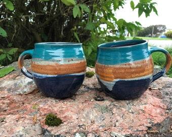 Large Ceramic Mug / Handmade Pottery / Sea & Sand / Coffee Mug / Mugs / 500ml / Beach / Housewarming Gift / Handmade Mug / Hot Chocolate
