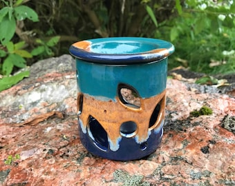 Ceramic Oil Burner / Handmade Pottery / Sand & Sea / Wax Melt Burner