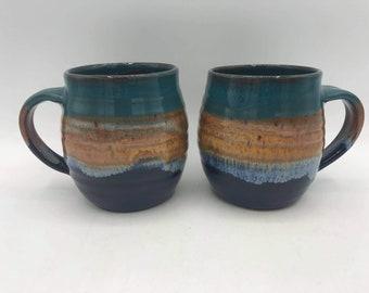Handmade Ceramic Mug / Pottery / Sea & Sand / 300ml