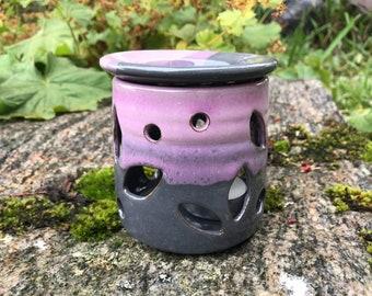 Ceramic Oil Burner / Handmade Pottery / Grey & Lavender / Wax Melt Burner