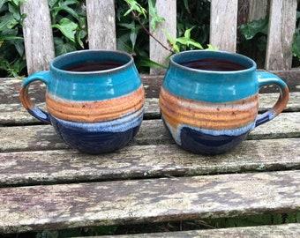 Large Ceramic Mug / Handmade Pottery / Sea & Sand / Coffee Mug / Mugs / Tea Mug / Beach / Housewarming Gift / Handmade Mug / 500ml