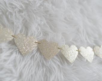 Champagne Glitter Heart Garland - Bridal Shower Decor - Baby Shower Decor - Wedding Decor - Christening Decor