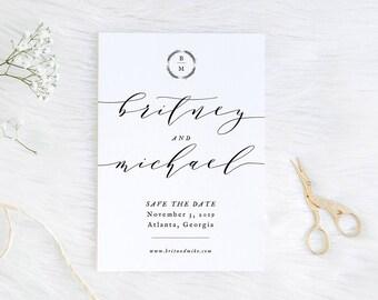 Save the Date, Modern Calligraphy, Printable Save the Date 5x7, DIY Save the Date, Elegant Save the Date