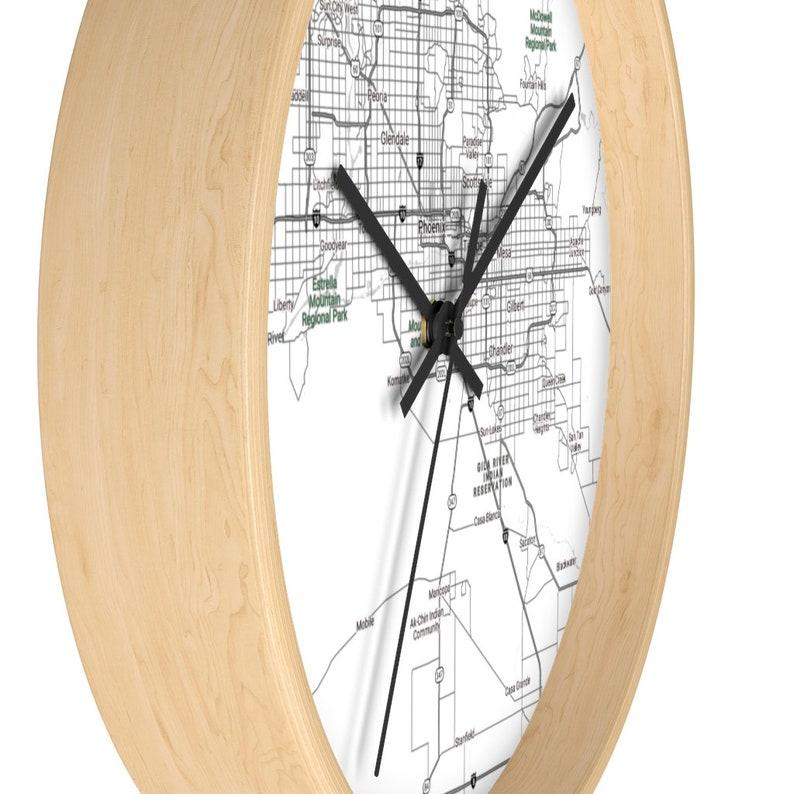 Unique 10/'/' Wall Clock Phoenix Area Map Phoenix Map Print Unique Living Room Decor Wooden Wall Clock Black and White Office Clock