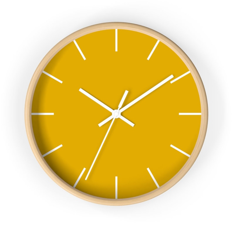 Mustard Yellow Wall Clock Colorful Wall Clock Unique Living image 0
