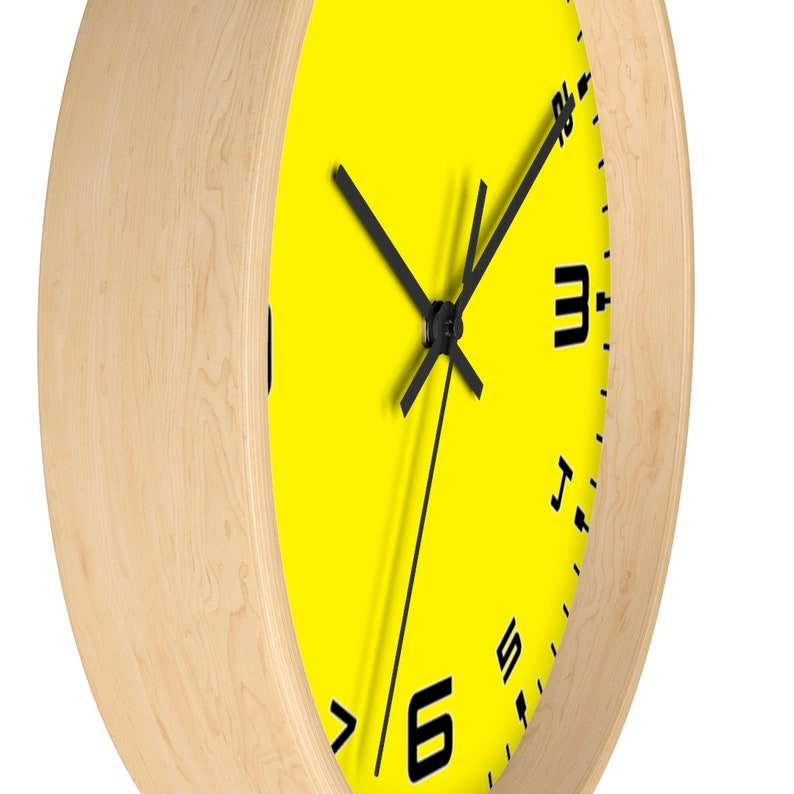Gift for Mechanic Racing Dial Clock Silent Wall Clock Sports Car Clock Yellow Clock Large Numbers Clock Car Enthusiast Wall Clock