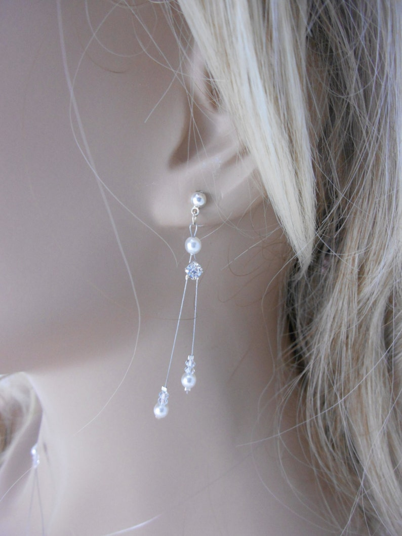 Bridal jewelry with pearly beads and rhinestones strass solitaire Set of wedding jewelry Duo de Strass