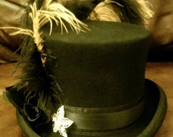 Stevie Nicks Inspired Black Top Hat 100% Wool Star Rose Gypsy Steampunk Bohemian Cosplay Burning Man Rose Gothic Halloween