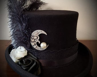 de70d8786a6 Stevie Nicks Inspired Top Hat Black 100% Wool Crescent Moon Rose Lace Gypsy  Steampunk Bohemian Festival Victorian Halloween Gothic