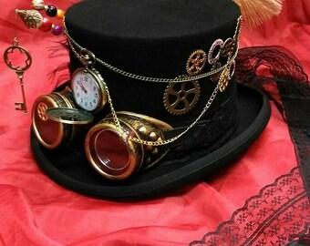 Festival di Steampunk vittoriano 100% lana cappello superiore Alice  attraverso la tasca di tempo Looking Glass guardare occhiali orologio ruote  chiave ... e10b273c95a8